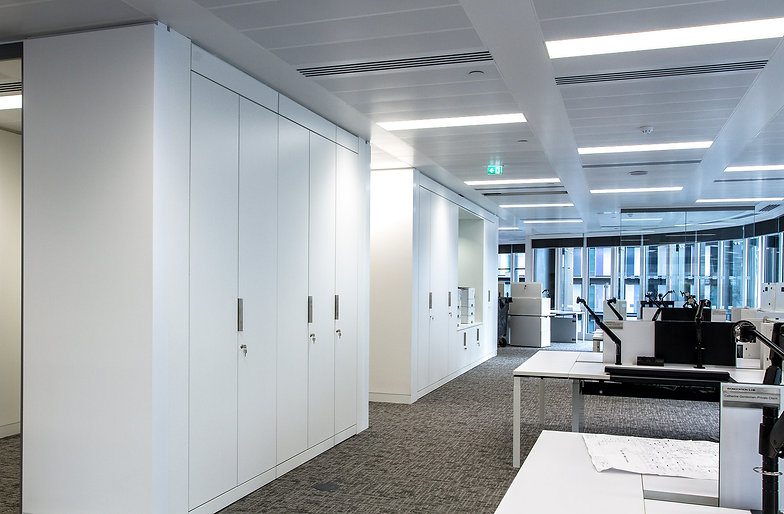 Freewall storagewall installed in an office space. The units are fitted with metal trim handles and lockable rosettes. One of the runs has a large central alcove in which office printers sit ontop of low level storagewall.