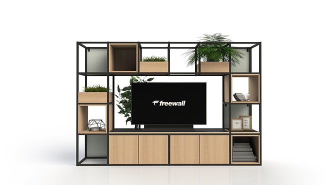 3D render of Freewall Qube system, showing a wide variety of accessories, such as planter, alcoves and lighting.