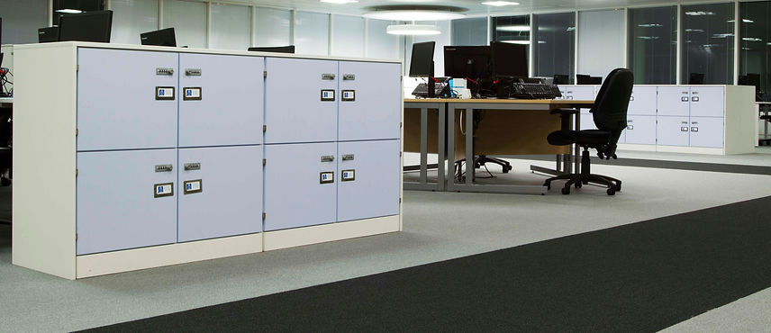 Freewall pre-built locker units, positioned in an office space beside some hot desking.