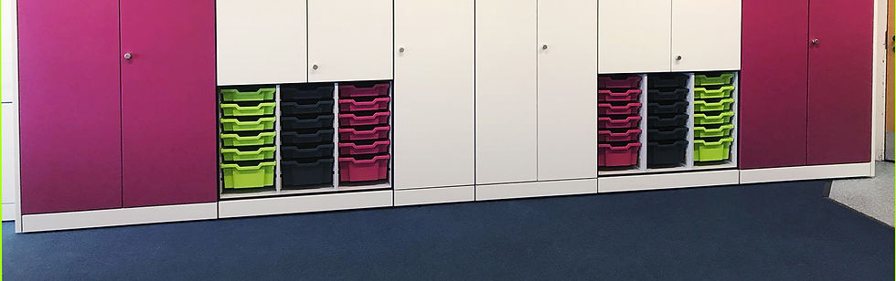 Freewall Teacherwall system. The lower half over every other unit are fitted with Gratnel Trays.