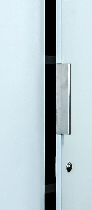 metal trim handle fitted into storagewall door.