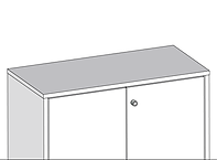 Rendered storagewall top, shows an example of a desk height top cap