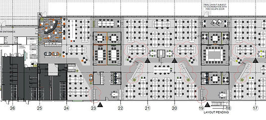 A technical floorplan of an office space that Freewall uses to gain information about where storagewall units need to be installed on a project