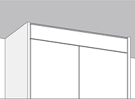 Rendered storagewall top, shows an example of a full-height unit with pelmet finishing detail