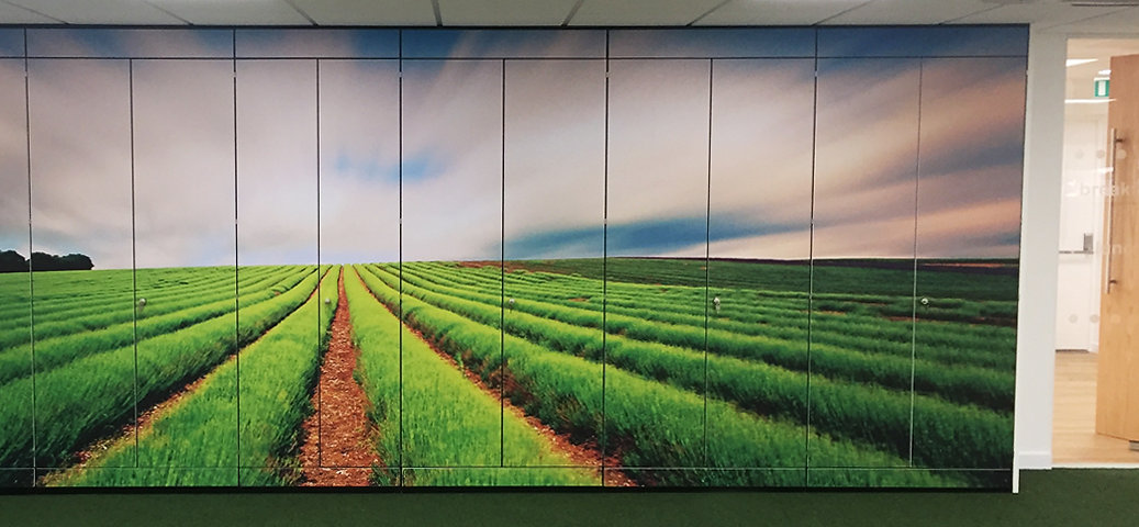 Freewall storagewall installed in an office space, instead of a normal finished MFC board, the unit has a last graphic manifestation of open fields and sky applied to the front face of the cupboards.