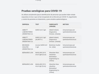 Nuevo listado Reactivos COVID-19 autorizados por ANMAT