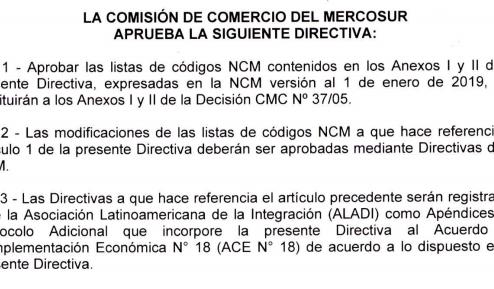 Actualización de las listas anexas a la decisión  CMC Nº 37/05