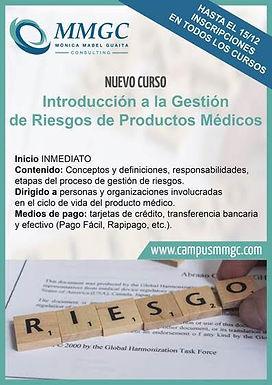 Nuevo Curso MMGC  Introducción a la Gestión de Riesgo de Productos Médicos