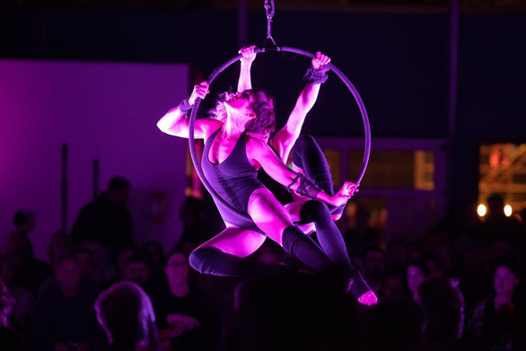 Pamella Inveen and Katie Lynch performing on lyra to 'Thriller' for The Shadow Circus