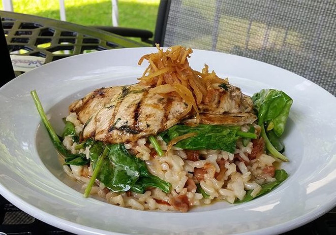 Risotto, spinach and pancetta with grill