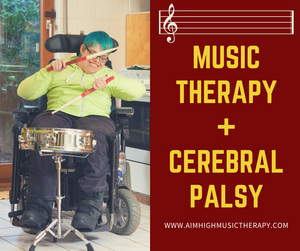 Music Therapy + Cerebral Palsy; woman with cerebral palsy plays the drum