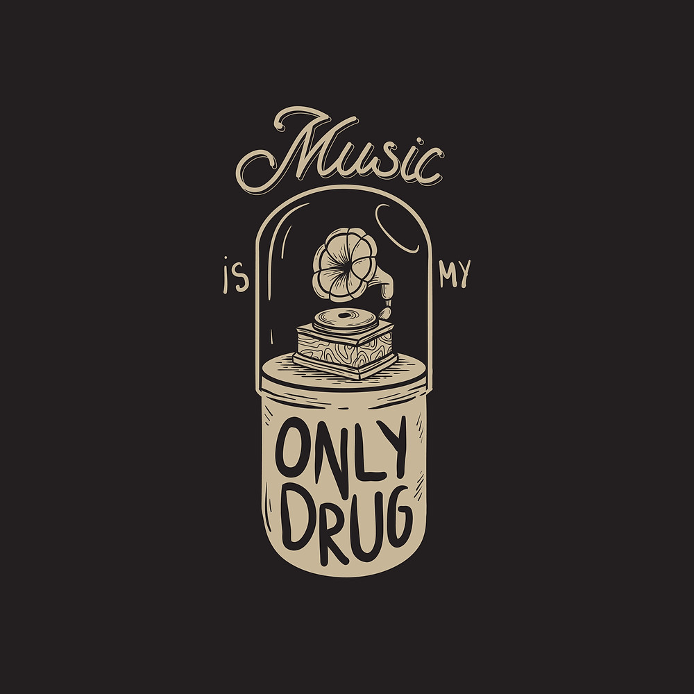 "Illustration of a phonograph inside a pill; ""Music is my only drug"""