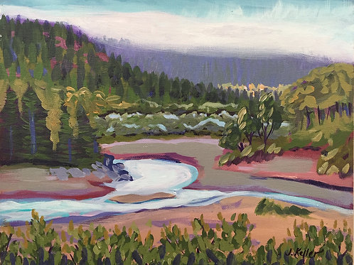 Eel River South Fork, Acrylic on Canvas Panel, 11x14""