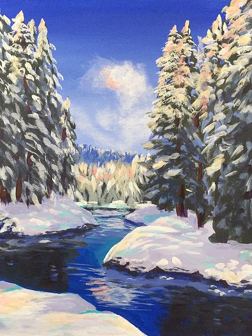 "Snowy Creek, Acrylic on Canvas Panel, 11x14"""