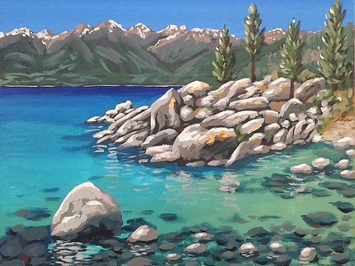 Sand Harbor, Acrylic on Canvas Panel, 11x14""