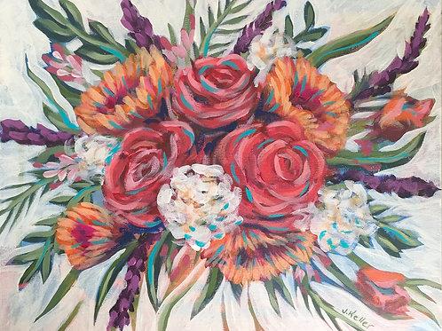 "Vibrant Bouquet, Acrylic on Canvas Panel, 11x14"""