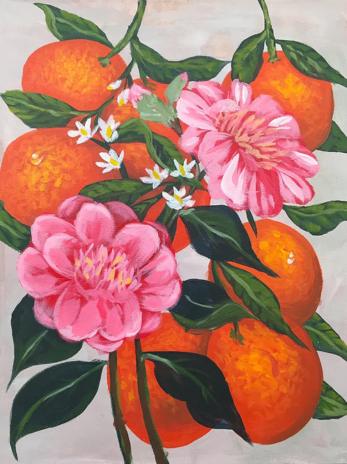 Camellias and Oranges, Acrylic on Canvas Panel, 11x14""