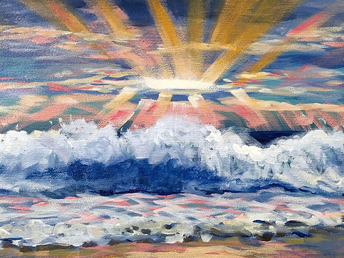 "Sunset Waves, 12x16"" Acrylic on Canvas"