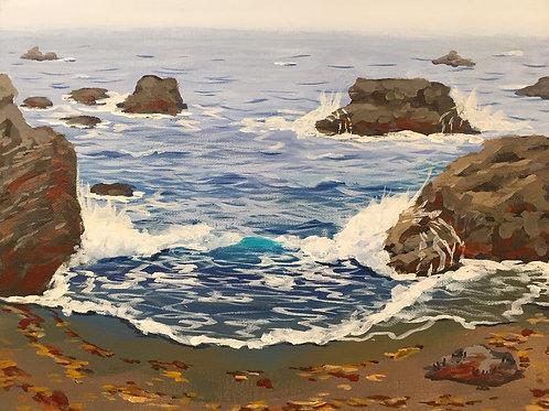 """Sonoma Beach, Acrylic on Canvas Panel, 11x14"""""""
