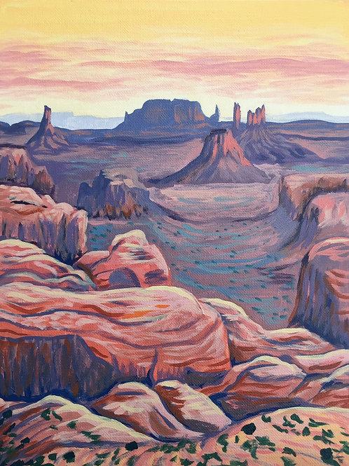 "Desert Vista, Acrylic on Canvas Panel, 11x14"""