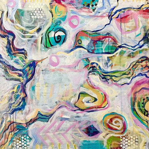 "On the Breeze, Original Acrylic Painting, 24x24"""