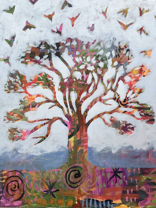 Oak Tree, Acrylic on Canvas Panel, 11x14""