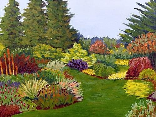"Botanical Garden, Acrylic on Canvas Panel, 11x14"""