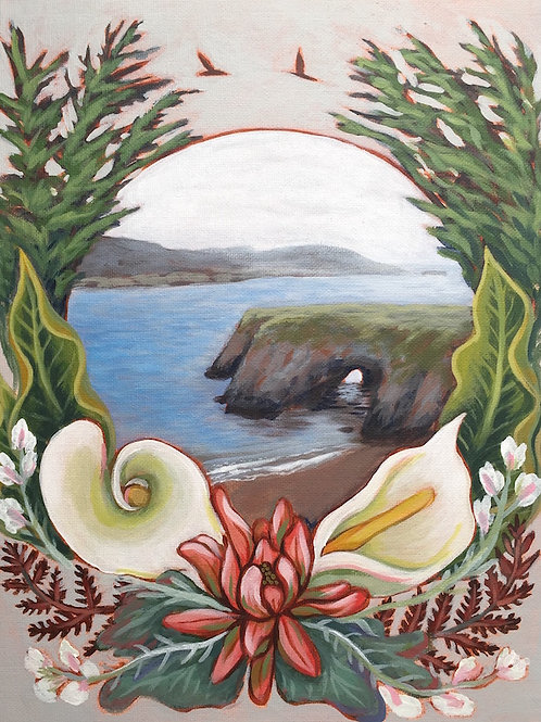 Mendocino Headlands, Acrylic on Canvas Panel, 11x14""