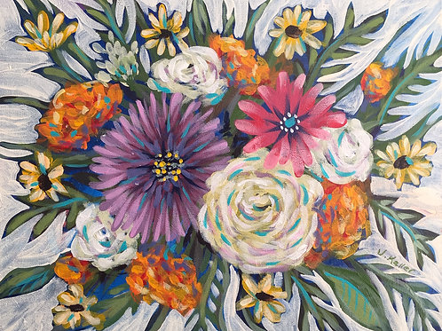 "In the Backyard, Acrylic on Canvas Panel, 11x14"""