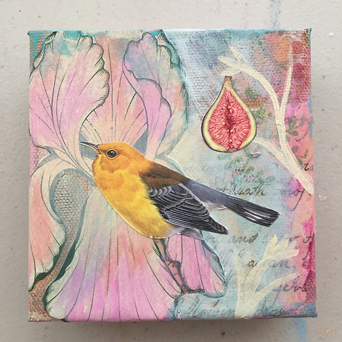 Little Love 5, Mixed Media on Canvas, 4x4""