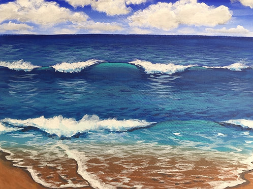 Beach Waves, Acrylic on Canvas Panel, 11x14""