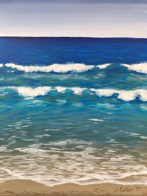 """Beach Day, Acrylic on Canvas Panel, 11x14"""""""