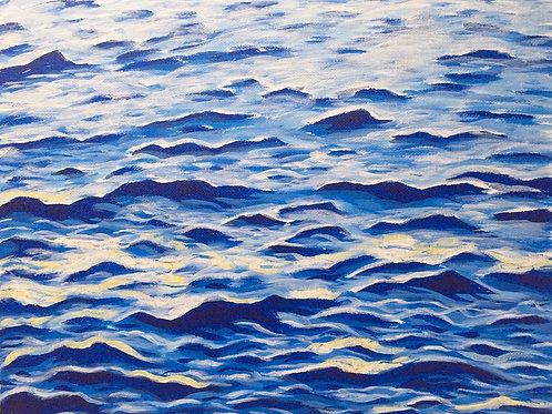 "Water is Life, Acrylic on Canvas Panel, 11x14"""