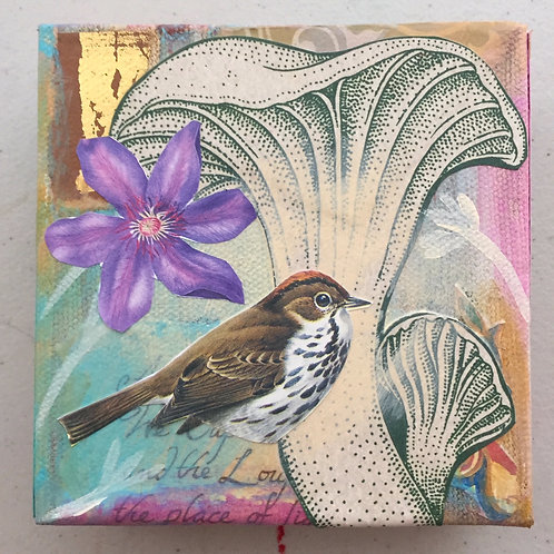Little Love 6, Mixed Media on Canvas, 4x4""