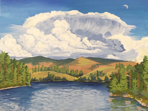 "Cloud Burst, Acrylic on Canvas Panel, 11x14"""
