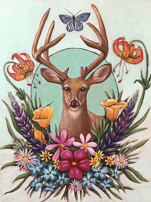 """Deer, Acrylic on Canvas Panel, 11x14"""""""