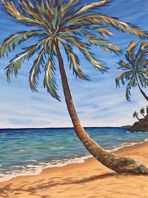 Tropical Seascape, Acrylic on Canvas Panel, 11x14""