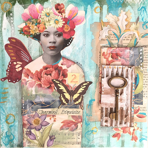 """Charming, Exquisite, Mixed Media on Canvas, 10x10"""""""