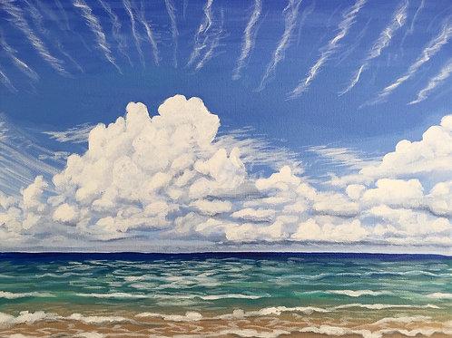 """Sky Beach, Acrylic on Canvas, 11x14"""""""