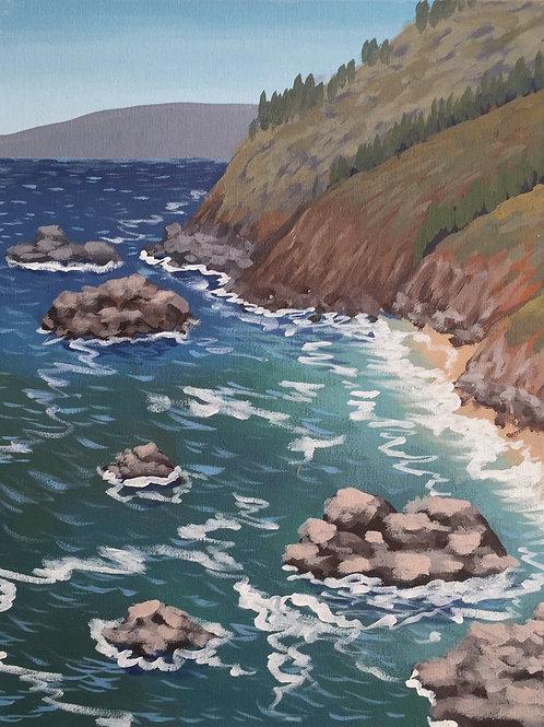 "North Coast, Acrylic on Canvas Panel, 11x14"""