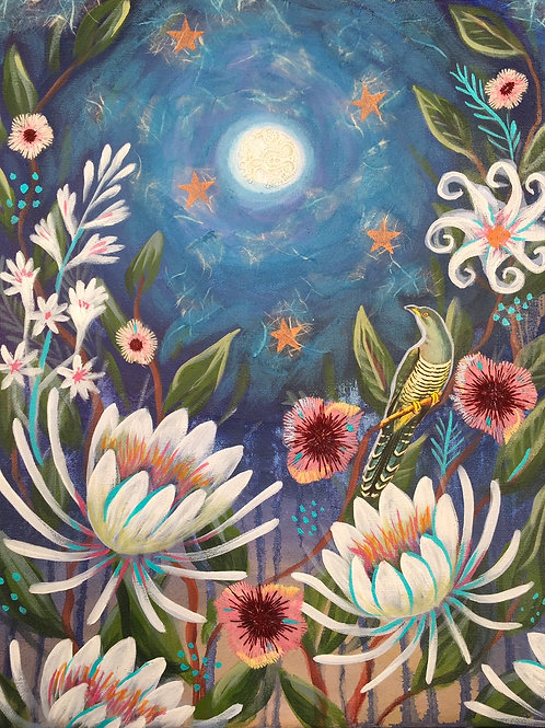 """Night Blooms, Mixed Media on Canvas Panel, 11x14"""""""
