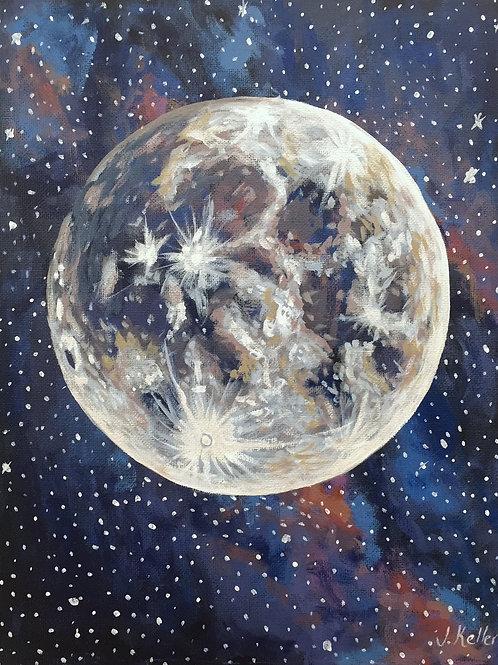 "Moon Magic, Acrylic on Canvas Panel, 11x14"""