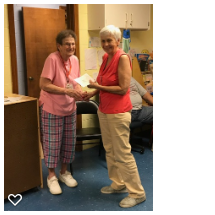 The members of the South Hadley Women's Club havedecided to disband the club after many years of camaraderie and community service. As a final act, they have designated Neighbors Helping Neighbors as the beneficiary of the remaining funds in their club account. On August 8, club member (and pantry volunteer) Kay Washburn presented pantry manager Mary Lou Guarnera with a check for $3000. The presentation was met with a loud round of applause from all of our Wednesday volunteers.