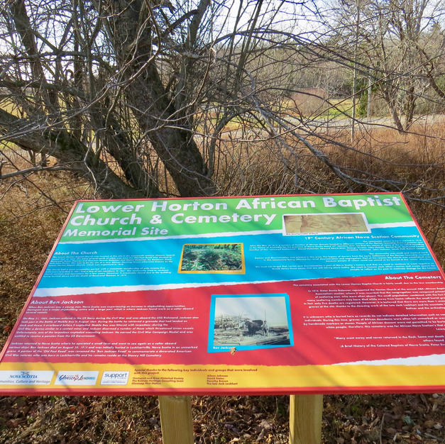 Information panel about the chrich and cemetery