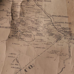 A map from the 1700's of the area showing the location of the Church