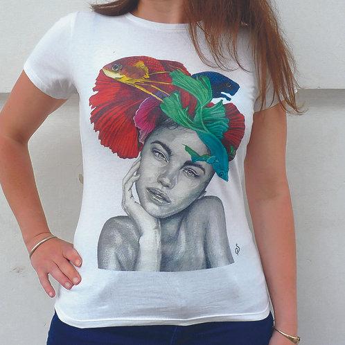 T shirt- Femme poissons -Coton Bio- M