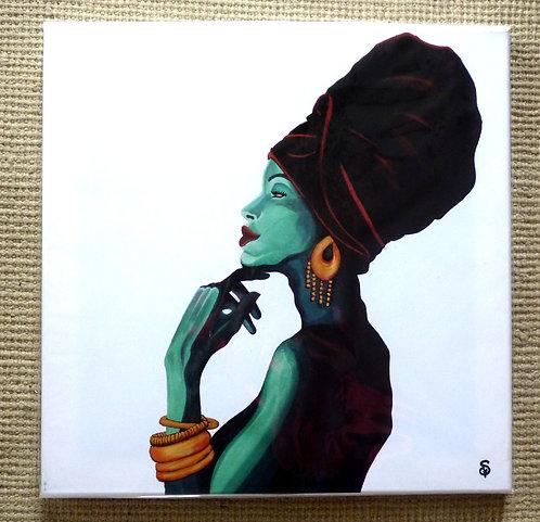 Impression s/ toile-Femme Bleue-40x40cm