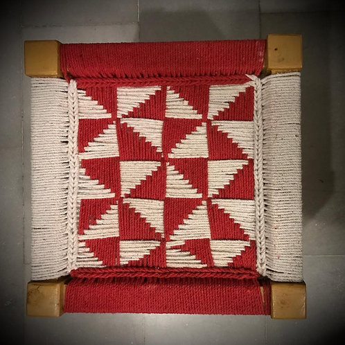 Red White Handwoven Mudda