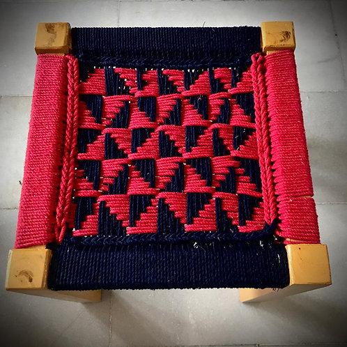 Red-Blue Handwoven Mudda (Seesham wood)