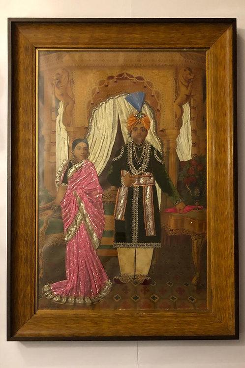 Ravi Varma - rare oleograph embellished from Burma